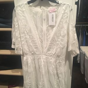 aa8b5171836 Lace White Romper. NWT.  35  60. Size  M · Pink Lilly